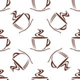 Brown steaming cups seamless pattern Royalty Free Stock Photo