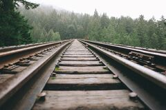 Brown Steel Train Rail during Daytime Stock Image
