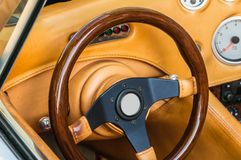 Brown steering wheel and dashboard Stock Photography