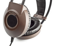 Brown stereo headphones closeup Royalty Free Stock Image