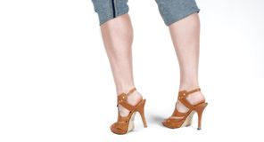Brown stilettos and capri pants Stock Image