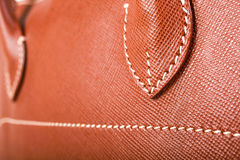 Brown Stitched Leather Stock Photography
