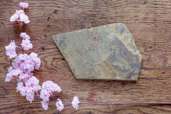 Brown stone and pink flowers on wooden background Royalty Free Stock Photos