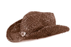 Brown straw cowboy hat Royalty Free Stock Photos