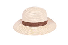 Brown straw hat with ribbon Stock Photos