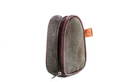 Brown striped case or purse Stock Photo