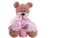 Brown stuffed animal teddy bear with pink blossom Stock Images