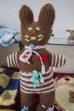 Brown Stuffed bunny. Close up view of a Brown Stuffed bunny hand knitted Royalty Free Stock Photography