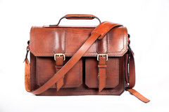 Brown stylish briefcase Royalty Free Stock Images