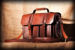 Brown stylish briefcase Stock Photo