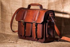 Brown stylish briefcase Royalty Free Stock Photo