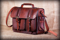 Brown stylish briefcase Stock Images