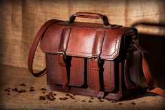 Brown stylish briefcase Stock Photography