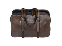 Brown stylish leather bag satchel. Isolated against white background Stock Photos
