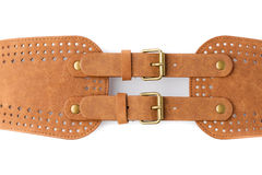 Brown stylish women leather belt. Royalty Free Stock Photo