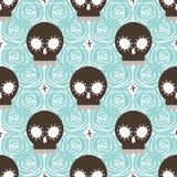 Brown stylized skull seamless pattern Stock Photography