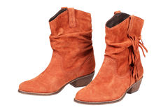 Brown suede female boots Royalty Free Stock Images