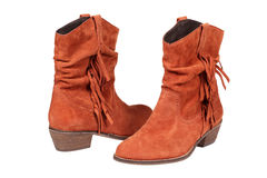 Brown suede female boots Stock Photo