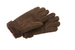 Brown suede gloves Royalty Free Stock Photo