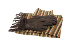 Brown suede gloves and striped wool scarf Royalty Free Stock Image
