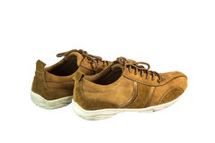 Brown suede leather shoes. On white background Royalty Free Stock Images