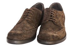 Brown suede shoes. Isolated brown suede shoes on the white background Royalty Free Stock Image