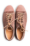Brown suede sneakers Royalty Free Stock Photos