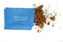 Brown sugar. In the sachet stock photos