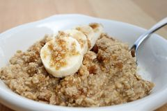 Brown sugar and banana oatmeal Stock Photography