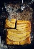Brown sugar and banana upside-down cake Royalty Free Stock Image