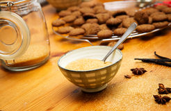 Brown sugar. In bowl for baking cookies in kitchen Stock Images