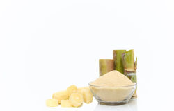 Brown Sugar in bowl and stump of sugar cane Stock Photos