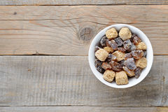 Brown sugar in bowl on table Royalty Free Stock Image