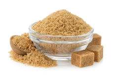 Brown sugar in bowl Stock Photo