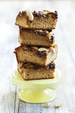 Brown sugar brownies with chocolate and peanuts Royalty Free Stock Photography