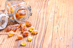 Brown sugar candy on Wood Royalty Free Stock Images