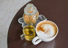 Brown sugar cappuccino and tea Stock Photography