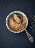 Brown sugar in a ceramic bowl Royalty Free Stock Images
