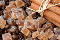 Brown sugar and cinnamon sticks Stock Image