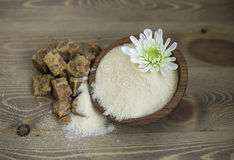 Brown sugar. Coconut flower sugar and brown sugar Stock Photography