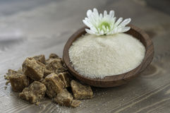 Brown sugar. Coconut flower sugar and brown sugar Stock Photo