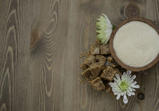 Brown sugar. Coconut flower sugar and brown sugar Royalty Free Stock Photo