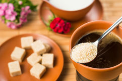 Brown sugar and coffee Royalty Free Stock Photography