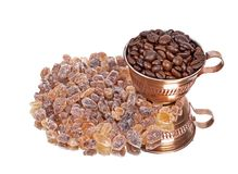 Brown sugar,Coffee beans Royalty Free Stock Photography