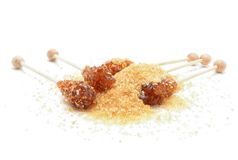 Brown sugar crystal on wooden stick Stock Photography
