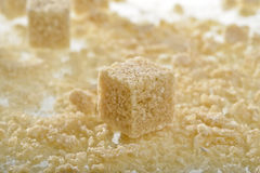 Brown sugar cubes Stock Photo