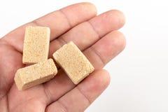 Brown Sugar Cubes In The Hand sopra fondo bianco fotografie stock libere da diritti