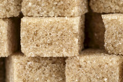 Brown sugar cubes shown closeup Stock Photo