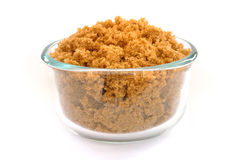 Brown Sugar in a Glass Bowl Stock Photo