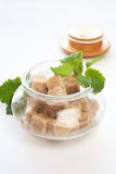 Brown sugar in glass bowl Royalty Free Stock Images